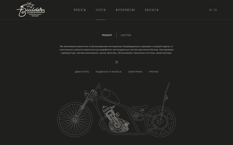 Сайт для мотомастерской с анимациями и видео